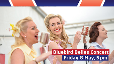 Enjoy a 1940s style concert with the Blue Bird Belles at 5.00pm