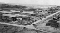 General view of camp at Borden, Ontario, Canada 1915 and Canadian Curtiss JN aircraft