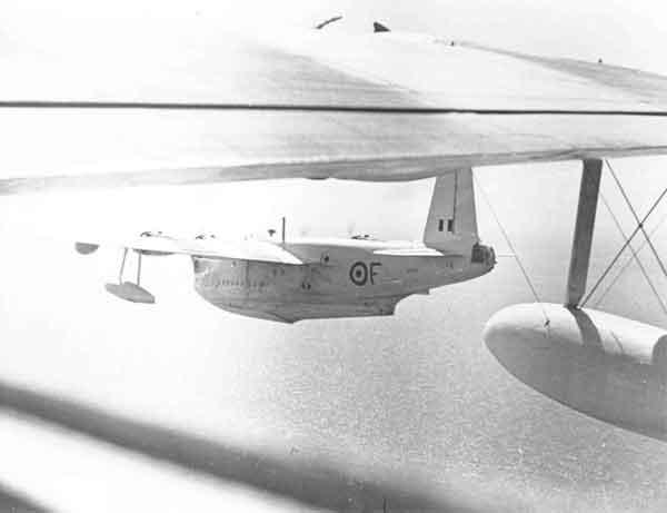 Short Sunderland V (SZ599 F) of 88 Squadron in flight off Hong Kong, July 1953 (PC98/23/2)