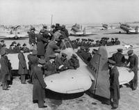 Student pilots having a close look at a North American Harvard, 1940s
