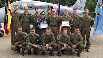 """Alois ŠIŠKA and the members of """"his"""" Air Force unit of the Army of the Czech Republic, which was named after him. Archive of Dagmar Johnson - Šišková."""