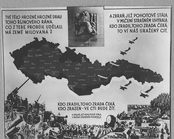 One of the commemorative postcards remembering withdrawal from the border areas as a result of the Munich Agreement and the sentiments with which the population of Czechoslovakia accepted this.