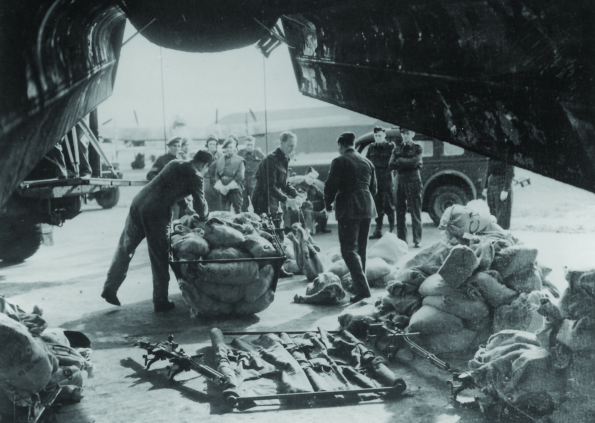 Packing panniers before loading into the bomb bay of a Lancaster.