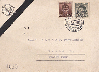 The fallen were understandably also not forgotten. 1945. Invitation to the funeral mourning for the Czechoslovak pilots, organized by the Union of Pilots, which took place on 21st October 1945.