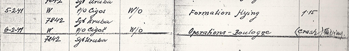 Record from a log book that shows the last sortie of Arnošt VALENTA