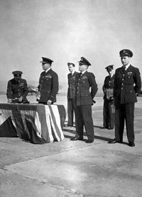 Sqdn Ldr Glover at a Wings ceremony, RAF Chaklala