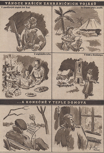 Satirical drawing depicting the postwar life of a soldier: Christmas of our soldiers abroad. In the snow-covered steppes of Russia. In the hot sands of the desert. At an English fireside. In the mud at Dunkerque. …and finally in the warmth of home. Document in hands of a soldier - twentieth request for assignment of an apartment.