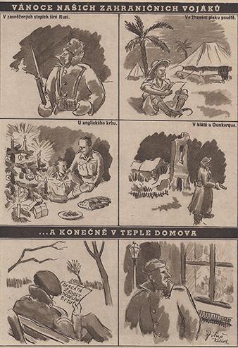 Satirická kresba zachycuje poválecný život vojáku, kterí se snažili zapojit do bežného života.