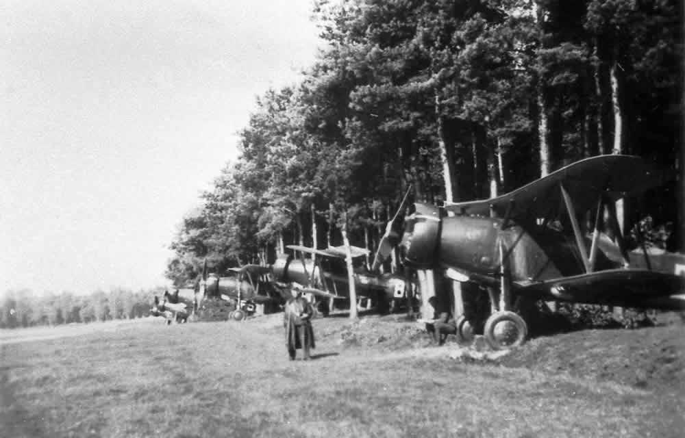 Reconnaissance and light bomber planes Letov š 328 hidden on field airbase of Czechoslovak air forces, September 1938. Zdenek Hurt collection.