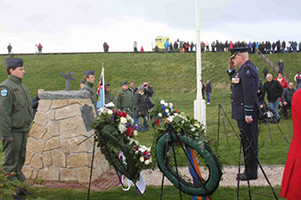 """Photograph from the unveiling of the memorial to the crew of the KX-B aircraft that made an emergency landing on the cusp of the years 1941/1942 in the North Sea. This story is told in the book by Alois ŠIŠKA, """"Flying for Freedom"""" respectively """"KX-B neodpovídá"""". Petten, Netherlands, 17th October 2012. Archive of Milan Simr."""