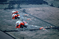 Bell Sioux helicopters in formation