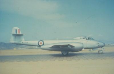 Gloster Meteor F.8 (A77-15), No. 77 Squadron, RAAF, Korea, circa 1952 (RAFM PC93/32/61)