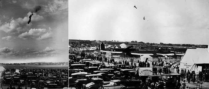 Kite balloon brought down in flames with observer escaping, RAF Hendon 1928; RAF Display Hendon 1928 with the Beardmore Inflexible bomber parked in front