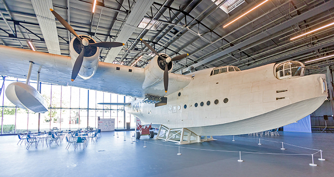 The Sunderland flying boat in Hangar 1 at the RAF Museum London finished its flying service in 1961 in Pembroke Dock, Wales.