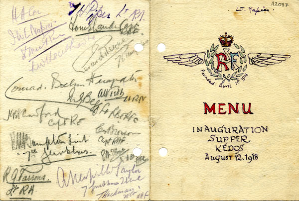 A1087: menu card. Alcock's signature can be seen on the inside cover, bottom left