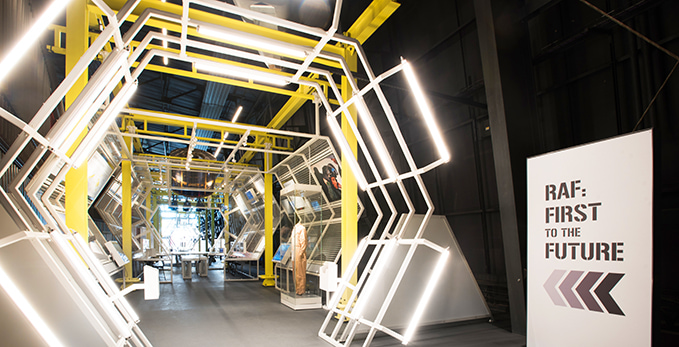 The entrance to the exhibition 'RAF First to the Future' at the RAF Museum London