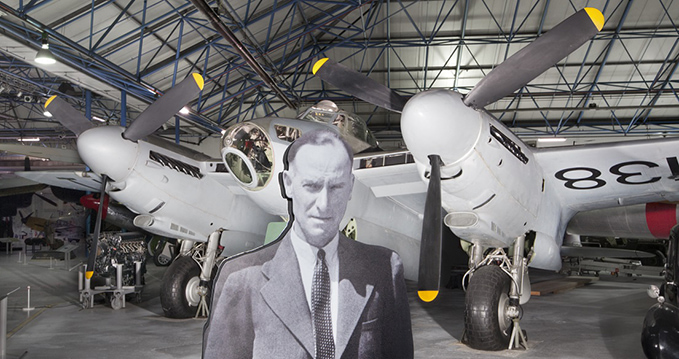 Sir Geoffrey de Havilland's silhouette in front of the Mosquito in Hangar 5 at the RAF Museum London.