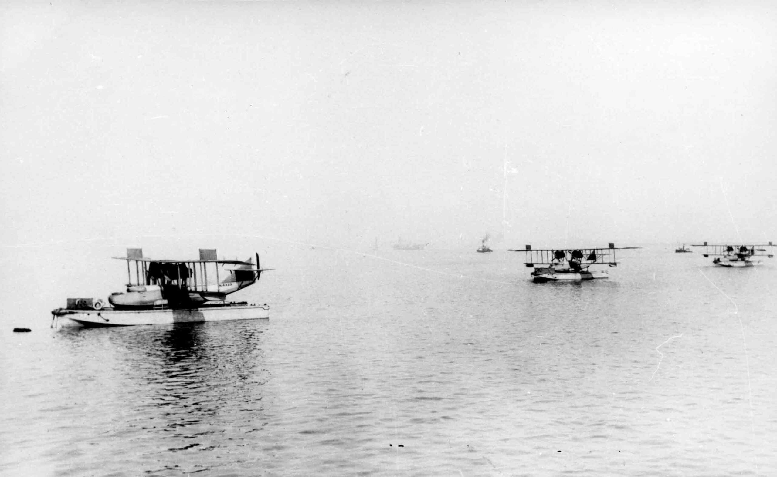Three Curtiss H12s loaded onto moored lighters, c. 1918 (RAFM reference: X003-2602/6589)