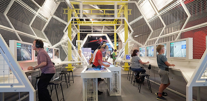 The interactives in the exhibition 'RAF First to the Future' at the RAF Museum London