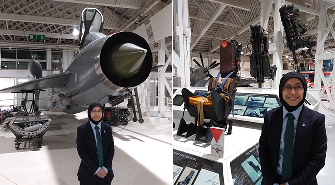 Hania in front the Lightning and in front of our Martin-Baker display in Hangar 3