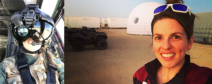 Bonnie with a modern and rather impressive looking helmet mounted display and Bonnie in the Omani desert
