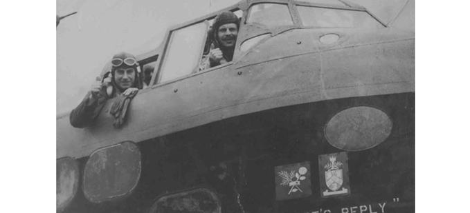 Short Stirling Mk. I (N6086 LS-F) of 15 Squadron, close up starboard view of nose, showing 'MacRobert's Reply' marking, 10 October 1941 (P014522)