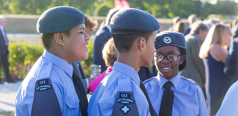 Group of young people dressed in Air Cadet uniforms