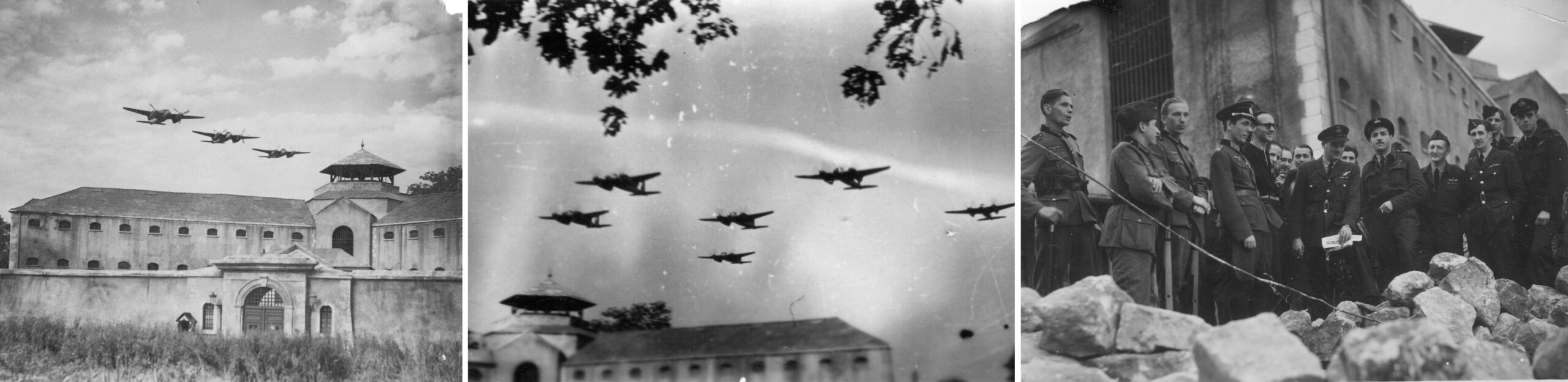 Training for attack on a lookalike of the Amiens prison and assessing the results of the attack on the Amiens prison. Luftwaffe and RAF personnel indicate this is after the liberation of France.