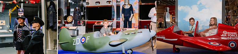 Young visitors, enjoying the new exhibitions at the RAF Museum London