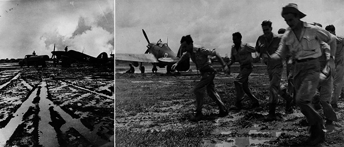 A Hawker Hurricane being serviced in the Burmese mud during monsoon season and Hurricane pilots scrambling over a monsoon mud airfield