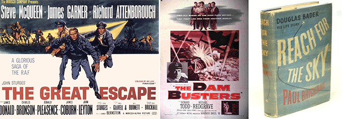 Posters for the films 'The Great Escape' and 'The Dam Busters' and the book 'Reach for the Sky'