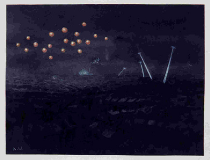 Pathfinder flares and search lights, painted by Marjorie Kingston-Walker