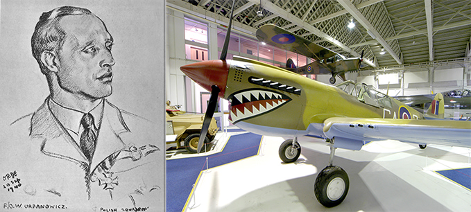 Witold Urbanowicz, drawn by Captain Cuthbert Orde and the Kittyhawk at the RAF Museum London, painted in the colours of No. 112 Squadron which was the first RAF Squadron to sport the shark face