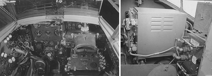 Mosquito night fighter with radio equipment in cockpit