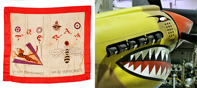 Commemorative silk flag, 'Flying Tigers', embroidered with RAF, Chinese Air Force and USAAF insignia, 135 Squadron RAF Wasp insignia (P-40Es and Hurricane Mk IVs) and the nose of the Kittyhawk at the RAF Museum London, showing the original No. 112 Squadron colours and the unit's shark teeth.