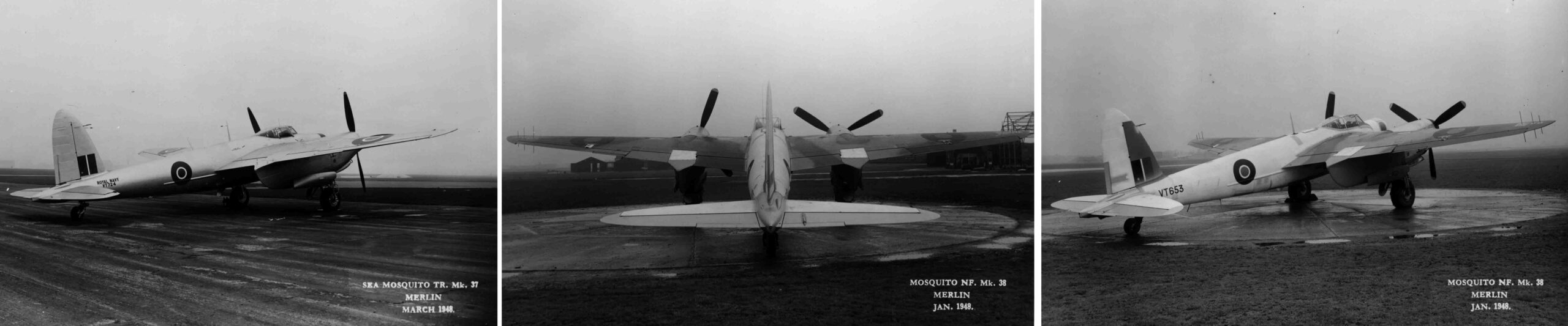 A Mosquito NF Mk 38 and a Mosquito NF XII