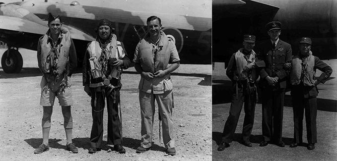 Commonwealth and Chinese aircrew of 5 METS in front of a Wellington and a Marauder bombers