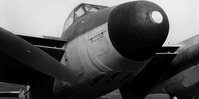 close up of the Mosquito NF Mk XII and its nose which housed the airborne AI radar.
