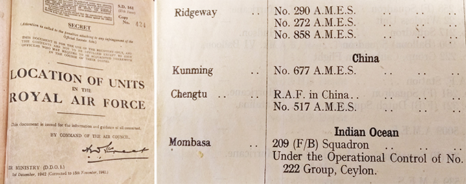 'Location of Units in the RAF', providing an overview of all RAF units and all RAF station (these books are one of the most useful reference books in the Museum's Archives) and the 'Location of Units' book which proves the existence of the two RAF stations in China