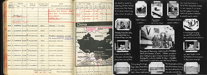RAF log book entry by Flight Lieutenant McLachlan who flew several times to and from Kunming and a page from a photo album of an RAF Liberator crew member, dealing with his brief stay in Kunming in the first days after Japan's surrender