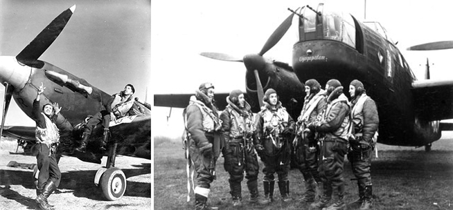 Black Spitfire Pilots and Flight Lieutenant William 'Billy' Strachan from Jamaica (far left) was a wireless operator/air gunner with 99 and 101 Squadrons.