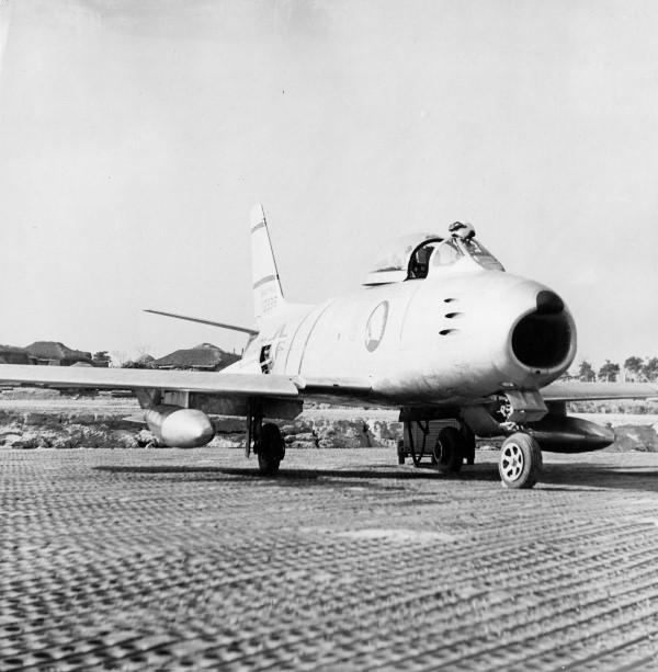 F-86 Sabre of the 335th Fighter Interceptor Squadron at Kimpo, circa 1953 (AC81/1/2/9)