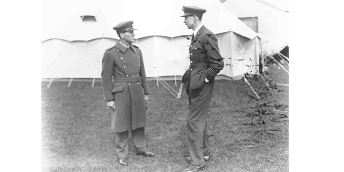 Sqdn Ldr Douglas Douglas-Hamilton (The Marques of Clydesdale) on the left talking to his brother Sqdn Ldr George Douglas-Hamilton (10th Earl of Selkirk) CO of 603 Squadron, Abbotsnitch, 1934