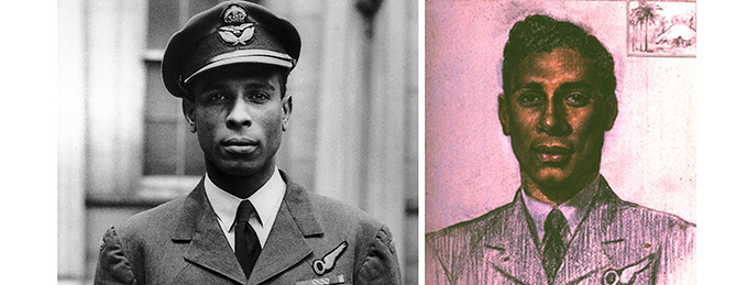 A photograph of Philip Louis Ulric Cross and a painting An Officer from Trinidad (Sqn Ldr Cross) by Miss Honour Earl, 1944.