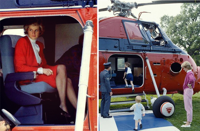 Princess Diana and Prince William and Prince Harry in our Westland Wessex Helicopter