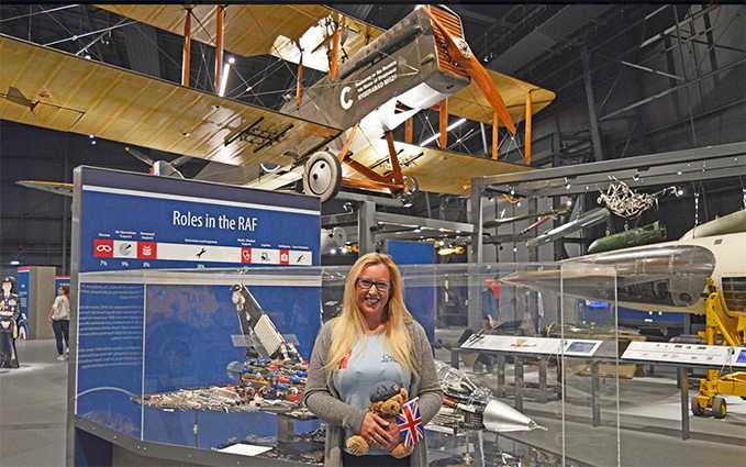 Emma Marianne visiting the RAF Museum London during her 'Walk for Wings'