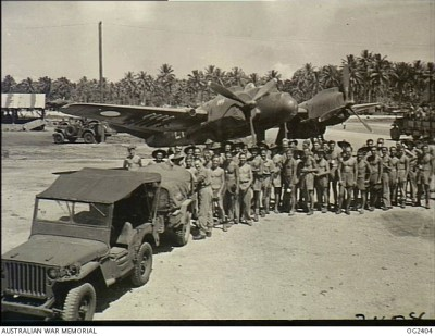 Bristol Beaufighter and men of 30 Squadron RAAF on Morotai Island in the Dutch East Indies ( AWM OG2404)
