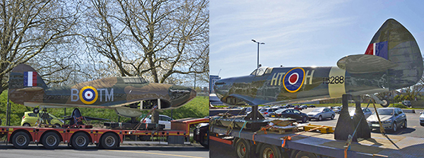 The Gate Guardians, Hawker Hurricane MK 1 and a Supermarine Spitfire MK XVI, just arrived on the London site