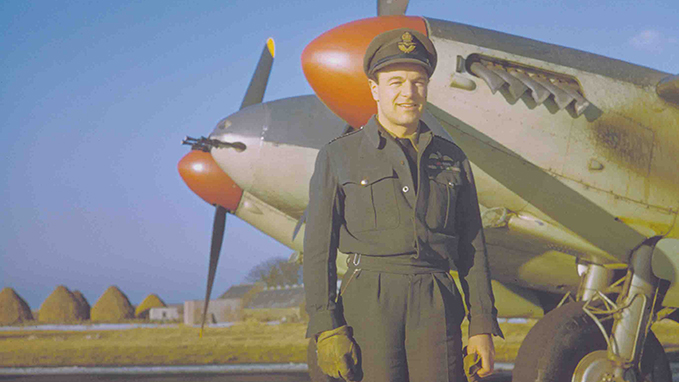 A rare coloured photograph of Max Aitken, commander of the Banff Strike Wing, in front of a Mosquito FB