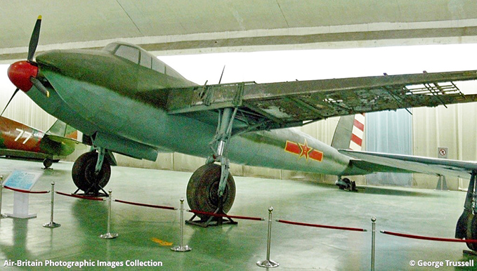 A Mosquito in a Chinese museum. It is a replica, but the damaged wing is original. (Image kindly provided by George Trussell)